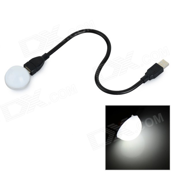 L-06 1W 40lm 5800K LED White Light USB Night Lamp - Black + White