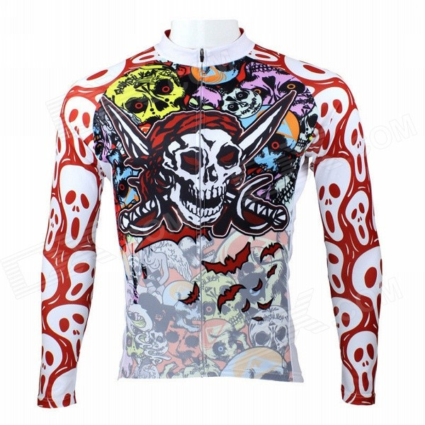 Men's Skull Pattern Long-sleeve Polyester Cycling Jersey - White + Red + Multicolored (M) xmas red white wave pettiskirt with matching white long sleeve top with red white wave ruffles