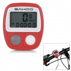 "SAHOO 81491 1.3"" Screen Multi-Functional Wired Bicycle Stopwatch Bike Computer - Red (1 x LR44)"