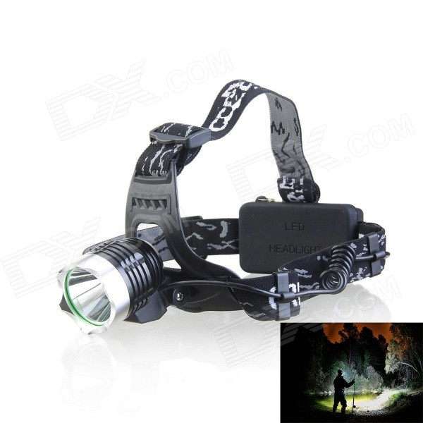kinfire K11 XM-L T6 600lm 3-Mode Cool White Light Headlamp + Car Charger - Black + Grey White 2800lm 3 mode white bicycle headlamp w 4 x cree xm l t6 grey