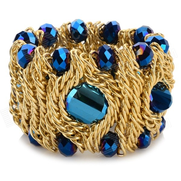Women's Fashion Crystal Studded Elastic Bracelet - Golden + Deep Blue stylish elastic string crystal bracelet of the east china sea transparent white