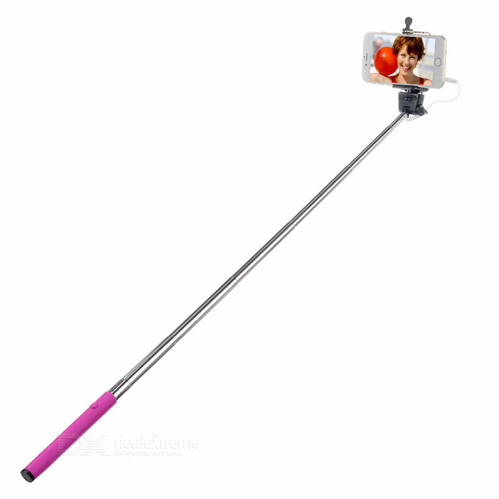 Z07-5S 7-Section Folding Handheld Remote Selfie Monopod w/ 3.5mm Audio Cable - Deep Pink + Black