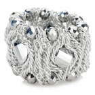 Women's Fashion Crystal Studded Elastic Bracelet - Silver