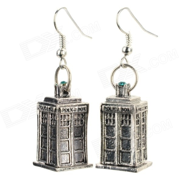 Women's Creative Police Box Style Zinc Alloy Earrings for Valentine's Day - Silver + Green (Pair) stylish zinc alloy earrings white golden pair