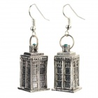 Women's Creative Police Box Style Zinc Alloy Earrings for Valentine's Day - Silver + Green (Pair)