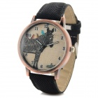 Zebra Pattern Fashion Round Style Casual Analog Quartz Wrist Watch - Black (1 x CR1022)