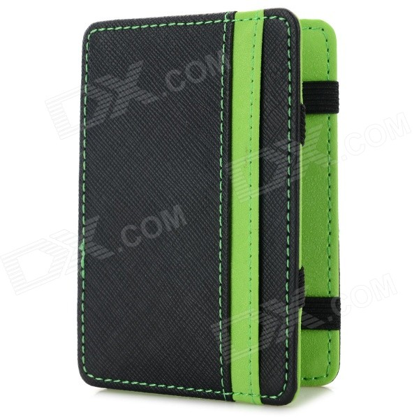 WB-1215 Casual Style Magic PU Dollar Wallet - Black + Green