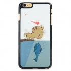 3D Cartoon Cat Kisses Fish Pattern Protective ABS Back Case for IPHONE 6 PLUS - White + Green