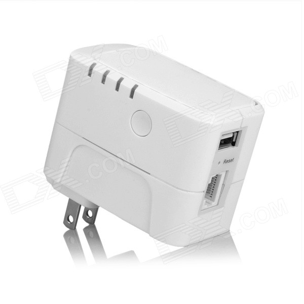UNT-01 300Mbps Wireless-N Wi-Fi Repeater w/ 2A USB Charging Interface - White (US Plug)