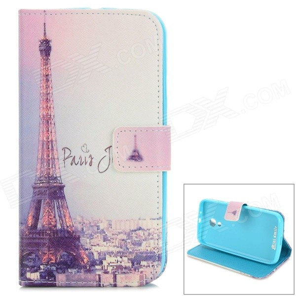 Eiffel Tower Pattern Protective PU Leather Flip Open Case w/ Stand / Card Slots for MOTO G2 eiffel tower pattern protective pu leather flip open case w stand card slots for moto g2