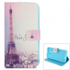 Eiffel Tower Pattern Protective PU Leather Flip Open Case w/ Stand / Card Slots for MOTO G2