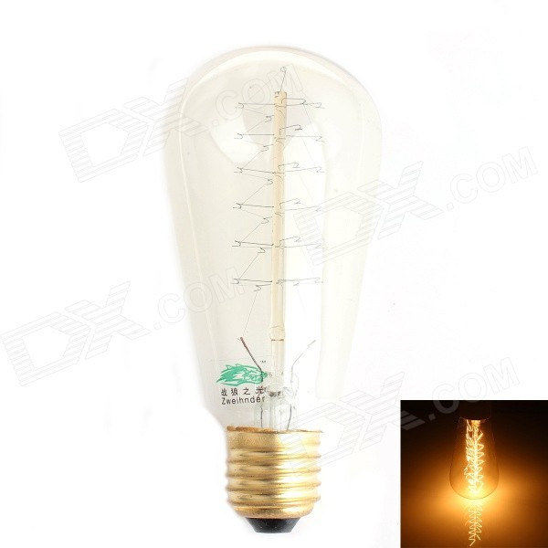 Zweihnder E27 40W Warm White Light Tungsten Filament Bulb (AC220~240V)