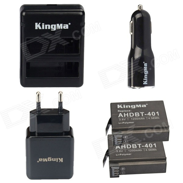 Kingma AHDBT-401 2-Battery + Dual-Slot Battery Charger + Car Charger + EU Adapter for GoPro Hero 4 kingma bm020 dual usb dual clot battery