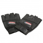 Anti-slip Half-finger PU Leather Outdoor Fitness Cycling Gloves w/ Velcro - Black (Pair)