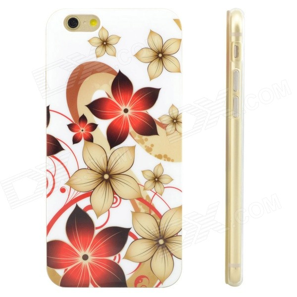 Flowers Pattern Protective TPU Back Case for IPHONE 6 - White + Red + Multi-Color kingxbar for iphone 6s 6 tpu back case slim cover elegant flowers