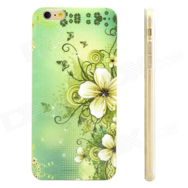 Flowers Pattern Protective TPU Back Case for IPHONE 6 PLUS - Green + White + Multi-Color 3d cartoon cat kisses fish pattern protective abs back case for iphone 6 plus white green