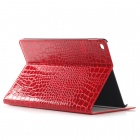 Protective Alligator Pattern PU Leather Wallet Case w/ Stand / Card Slot for IPAD AIR 2 - Red