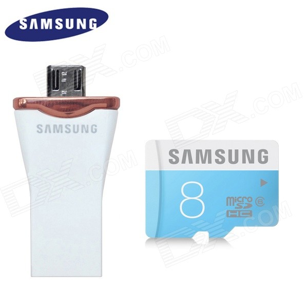 Samsung Micro SDHC 8GB Class UHS-I Card + OTG Micro USB to USB 2.0 16GB Flash Drive samsung 16gb class uhs i micro sdhc tf flash memory card usb card reader orange