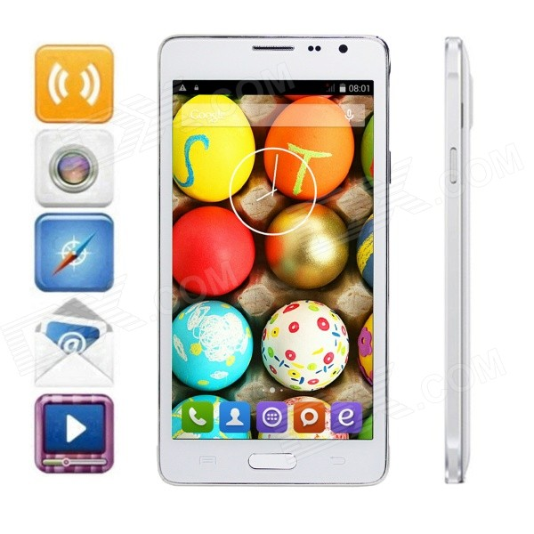 FineSource Android 4.4 Quad-Core WCDMA Bar Phone w/ 5.5, 8GB ROM, Wi-Fi, GPS, OTA - White leagoo lead4 dual core android 4 2 wcdma bar phone w 4 0 wvga 4gb rom wi fi gps ota white