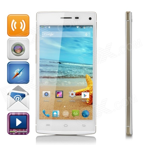 H930 MTK6592 Octa-Core Android 4.4.2 WCDMA Bar Phone w/ 5.0 QHD, 8GB ROM, GPS, OTG - White s5 mtk6592 octa core android 4 4 2 wcdma bar phone w 5 0 ips qhd 8gb rom gps otg white