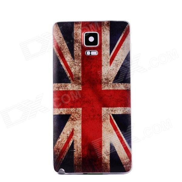 Embossed UK Flag Pattern Plastic Battery Back Cover for Samsung Galaxy Note 4 - Red + Multicolor