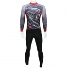 Men's Outdoor Cycling Long Sleeves Jersey + Long Pants Set - White + Black + Multi-Color (XL)
