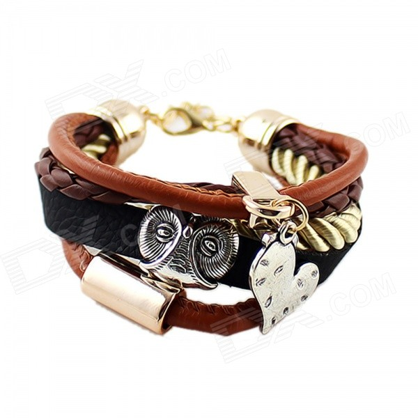 Fashion Punk Style Multilayer PU Leather Bracelet - Brown + Silver fashion cupid ornament split leather bracelet coffee brown multi color