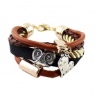 Fashion Punk Style Multilayer-PU-Leder-Armband - Brown + Silber