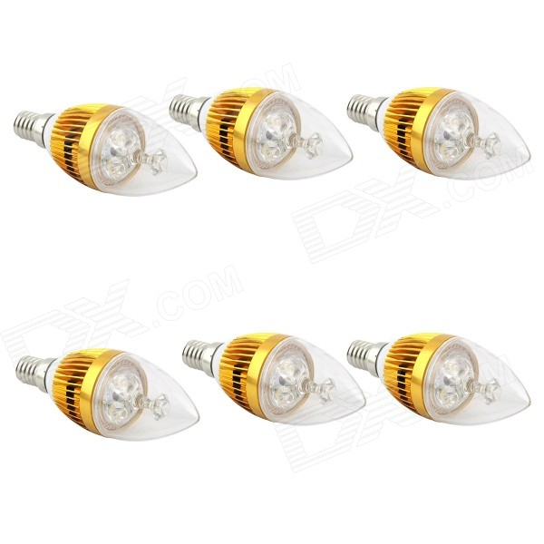 E14 3W 270lm 6500K White Non-Dimmable LED Candle Candelabrum Lamp Bulb - Golden (6 PCS) e14 3w 270lm 6500k white non dimmable led candle candelabrum lamp bulb silver 6 pcs