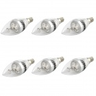 E14 3W Cool White Light LED Candle Bulb - Silver (6PCS)