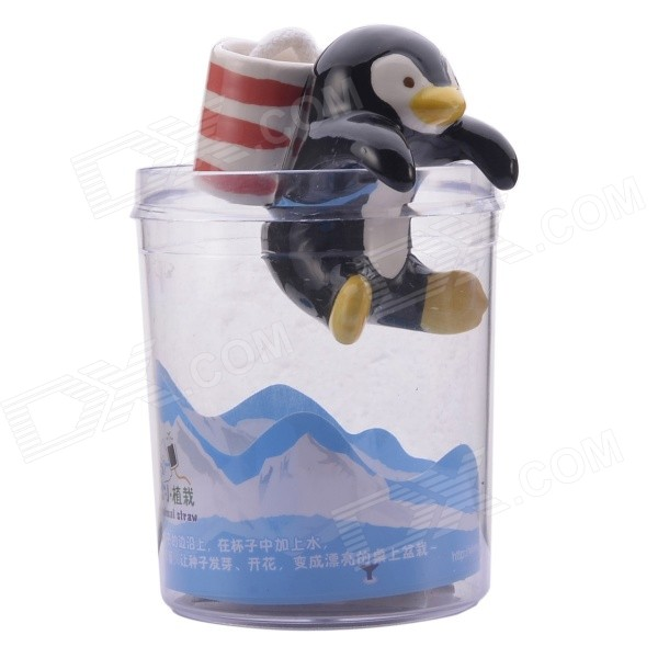 NEJE ZJ0059-6 Cute Penguin Style Self-watering Plant Pot Planter w/ Straw / Cup - Black