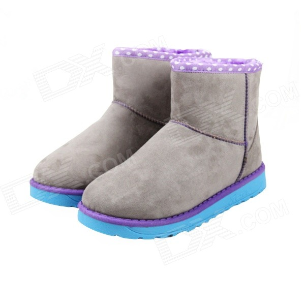 LH-66 Warm Winter Flat Heel Snow Boots - Grey + Purple (Size 38 / Pair) fawn warm women s snow boots brown size 37