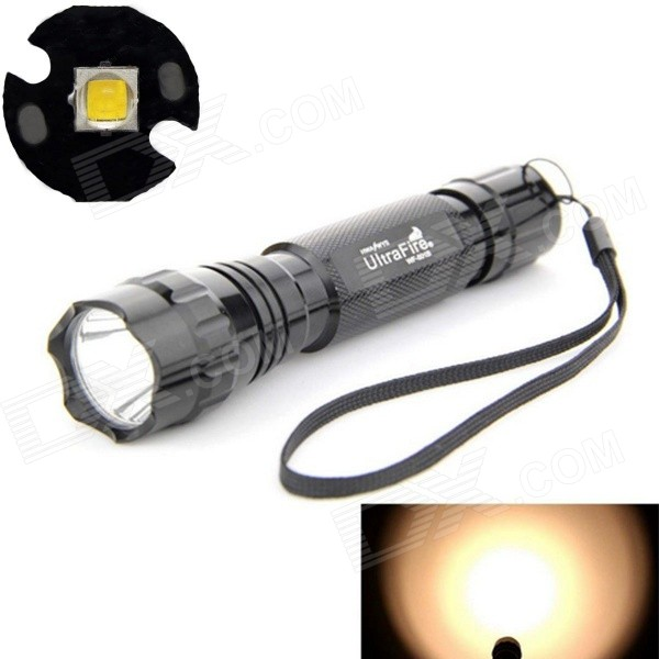 UltraFire LED 10W 1-Mode 800lm Bright Warm White Flashlight - Black (1 x 18650 / 2 x CR123A)