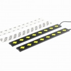 3W 150LM 6000K 8-LED White Light Car Daytime Running Lights - preto + cinza (2 PCS / 12V)