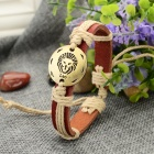 Fashion Leo Design Split Leather Bracelet - Brown-Leo