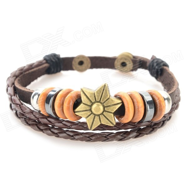 Fashion Flower Design Split Leather Bracelet - Antique Bronze + Brownness + Multi-Color fashion cupid ornament split leather bracelet coffee brown multi color