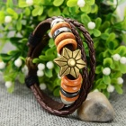 Fashion Flower Design Split Leather Bracelet - Antique Bronze + Brownness + Multi-Color