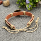 Fashion Cancer Design Split Leather Bracelet - Brown-Cancer