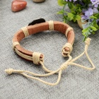 Fashion Libra Design Split Leather Bracelet - Brown-Libra