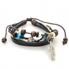 B01381 Fashion Leaf Ornament Split Leather Bracelet - Black + Multi-Color