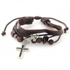 B01353 Fashion Cross Ornament Split Leather Bracelet - Brown + Silver