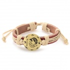 Fashion Pisces Design Split Leather Bracelet - Antique Bronze + Brown