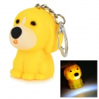 Cute Dog Style 10lm 25000K LED Cool White Light Keychain w/ Sound Effect - Yellow (3 x AG3)