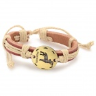 Fashion Capricorn Design Split Leather Bracelet -  Brown-Capricorn