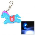 Horse Style 10lm 25000K LED Cool White Light Keychain w/ Sound Effect - Blue + Red (3 x AG3)