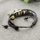 B01325 Fashion Starfish Ornament Split Leather Bracelet - Coffee
