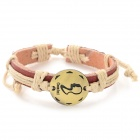 Fashion Gemini Design Split Leather Bracelet - Brown-Gemini