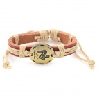 Fashion Aquarius Design Split Leather Bracelet - Brown-Aquarius