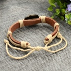 Fashion Sagittarius Design Split Leather Bracelet - Brown-Sagittarius