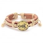 Fashion Taurus Design Split Leather Bracelet - Brown-Taurus